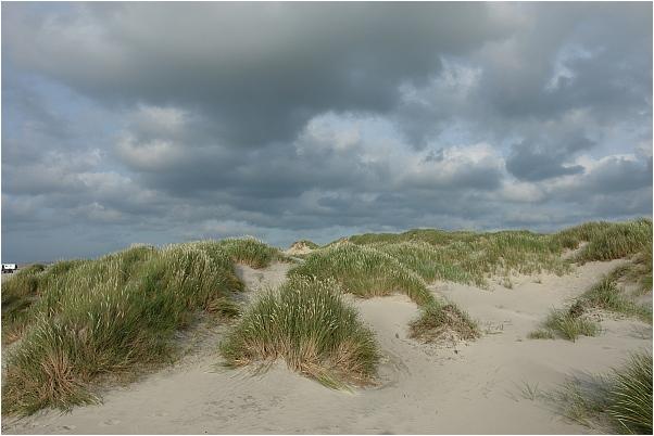 Dünen und Wolken in Dänemark